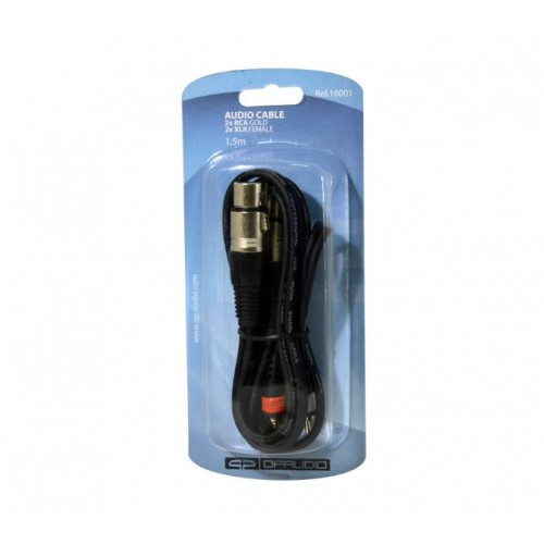 CABLE 2 x RCA MACHO GOLD A 2 x XLR HEMBRA.1,5m QP AUDIO